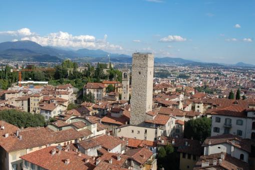 Bergamo from the Campanone (civic tower) in Piazza Vecchia