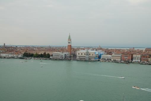 Venice from the bell tower at the Basilica San Giorgio Maggiore on the Isola San Giorgio Maggiore