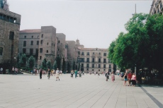 Square in Barcelona - with people