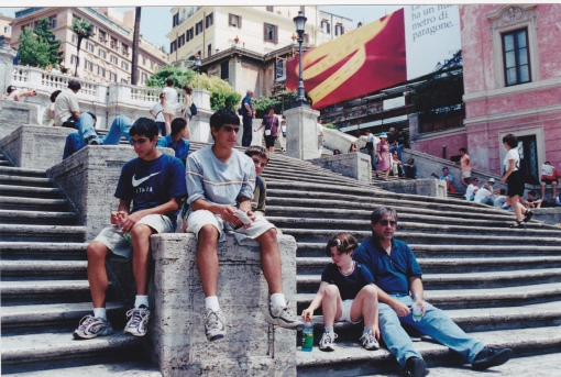 Joe and his kids on the Spanish Steps